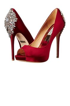 Add a pop of red to your wedding day with Badgley Mischka Kiara Heel from @Zappos!