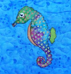 Seahorse PDF applique pattern; marine animal quilt block; ocean animal quilt pattern; baby quilt pattern; child's quilt; Ms P Designs USA by MsPDesignsUSA on Etsy