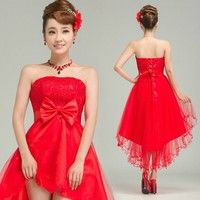 Pure manual customized bridesmaids short lace chiffon red dresses bow irregular wedding dress 1.fabr