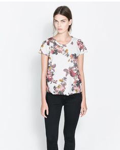 Zara FLORAL PRINT T-SHIRT