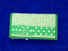 Green gingham wallet, embroidery ready!
