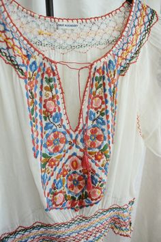 Antique 1930s Hungarian Embroidered Peasant Blouse