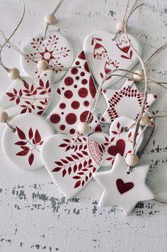 Set of 9 Christmas tree decorations Ornaments Scandinavian | Etsy Ceramic Christmas Decorations, Scandinavian Christmas Decorations, Diy Christmas Ornaments, Christmas Crafts, Holiday Decorations, Christmas Candles, Ceramic Christmas Trees, Beaded Ornaments, Glass Ornaments