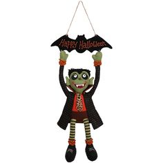 GCA International Vampire & 'Happy Halloween' Bat Hanging Décor ($18) ❤ liked on Polyvore featuring home, home decor, holiday decorations, halloween home decor and halloween figurines