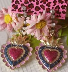Pink Heart Flowers Dangle Earrings pictures
