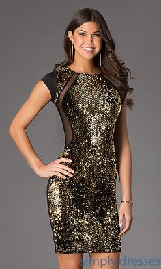 Short Sequin Short Sleeve Dress at SimplyDresses.com