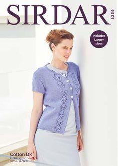 Sirdar 8259 Cardigan in Sirdar Cotton DK ( weight) for Adults. Crocheting Patterns, Warm Weather, Knit Crochet, Knitting, Lady, Mens Tops, Cotton, Fashion, Moda