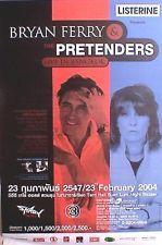 BRYAN FERRY/THE PRETENDERS 2004 BANGKOK, THAILAND CONCERT TOUR POSTER-Roxy Music
