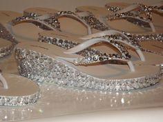 Rhinestone Bling Flip Flop Wedge Sandals Bridal by EVRhinestones, $45.00