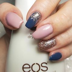 Make an original manicure for Valentine's Day - My Nails Gold Gel Nails, Blush Pink Nails, Navy Blue Nails, Baby Pink Nails, Rose Gold Nails, Glitter Nails, Navy Acrylic Nails, Dark Nails With Glitter, Gorgeous Nails