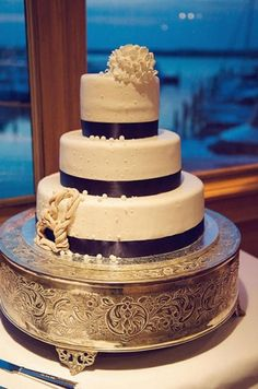 Nautical Wedding in Navy Blue & Pink | Confetti Daydreams - Navy blue nautical wedding cake with navy ribbon as an adornment and rope feature ♥