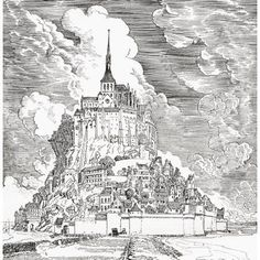 Mont Saint Michel Normandy France Seen From The Causeway Across The Sands From The Century Illustrated Monthly Magazine May To October 1904 Canvas Art - Ken Welsh Design Pics x Castle Illustration, Castle Drawing, Wall Art Prints, Canvas Prints, London Landmarks, Mont Saint Michel, Detailed Drawings, Kirchen, Cool Art