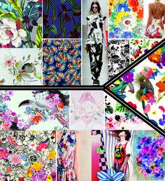 Florais - Na estação, os florais aparecem em tamanhos cores, tropicais, aquarelados e misturados com outras linguagens.Um dos destaques são florais PB remetem à estampas antigas e decorativas.