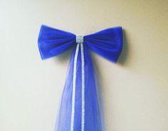 Royal Blue Tulle Wedding Bow Church Pew Bow by DarlingChicBowtique