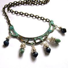 Dark Blue And Teal Glass Turquoise Verdigris by gimmethatthing, £18.50