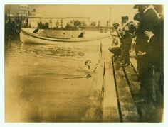 1904 Olympics: R.E. Beach, Chicago Athletic Association, winning One Mile Olympic swimming Handicap.