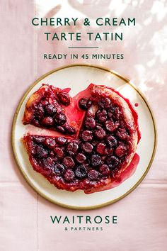 Juicy cherry tarte tatin with buttery golden pastry, serve with whipped double cream. A classic summer dessert, ready in 45 minutes. Tap for the full Waitrose & Partners recipe. Easy Healthy Recipes, Sweet Recipes, Vegetarian Recipes, Easy Meals, Cooking Recipes, Crockpot Recipes, Delicious Desserts, Dessert Recipes, Dinner Recipes