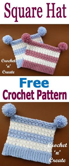 Crochet square hat, free crochet pattern, make to sell or give as gifts. #crochetncreate #freecrochetpatterns #crochethats