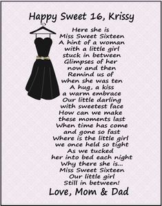 sweet sixteen to my daughter | item fp101 sweet sixteen poems the perfect sweet sixteen gifts a ...