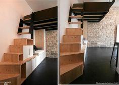 Réaménagement d'un studio de 18m² à Paris 18ème. L'appartement en l'état existant était très dégradé. L'enjeu a été d'optimiser l'espace pour offrir toutes les fonctions essentielles dans un espace réduit au minimum.