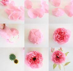 Crêpe Paper Cabbage Rose Tutorial