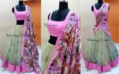CODE-L163. Pastels pink Mint green halfsaree blouse raw silk crepe dupatta Custom made silhouette Designer wear They can customize the size and color as per your requirementFor all queries mail tomaanyadesigners@gmail.com 07 June 2017