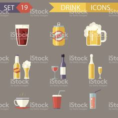 Retro Flat Alcohol Beer Juice Tea Wine Drink Icons and royalty-free stock vector art