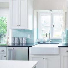 Tiffany Blue Subway Tile Backsplash, Transitional, Kitchen