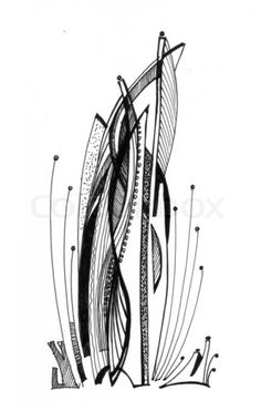 Image of 'Abstract drawing black ink with unusual structure'