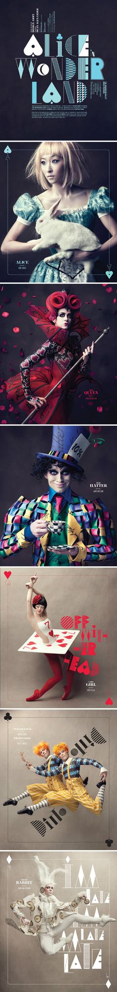 Alice in Wonderland. Tipografia, fotos e fantasias: tudo lindo.