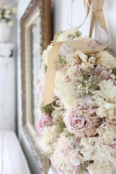Shabby chic wreath - beautiful! - repin of Lisa Francis