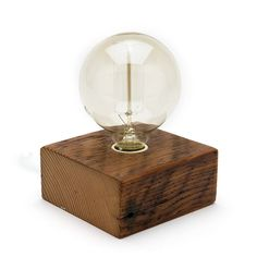 Solo Bulb Wood Block Lamp -Bengston Woodworks