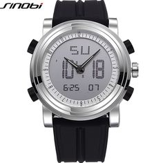 SINOBI Sports Chronograph Men's Wrist Watches Digital and Quartz Boys Military Diving Watchband Top Luxury Brand Male Clock 2016
