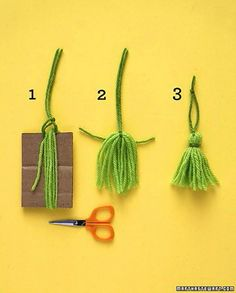 Tassels : Wrap yarn around cardboard (ours was 3 inches high) at least 10 times.( larger cardboard for larger tassels. Loop yarn for hanger under top strands; Cut through bottom loops. Tie yarn around tassel near the top; trim ends evenly. Diy Tassel, Tassels, Diy Projects To Try, Craft Projects, Craft Ideas, Yarn Crafts, Diy And Crafts, Handmade Crafts, Diy Christmas Ornaments