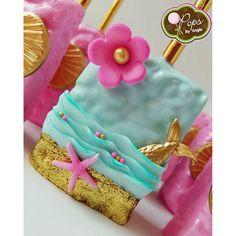 Mermaid inspired chocolate covered rice krispy treats for Reagan's 5th birthday…
