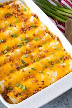 Overnight Breakfast Enchiladas ~ Tortillas stuffed with Sausage, Eggs,Cheese and Bacon! This is the Perfect Overnight Breakfast Casserole Recipe! Make Ahead Breakfast Casserole, Breakfast Enchiladas, Hashbrown Breakfast Casserole, Breakfast Dishes, Breakfast Recipes, Breakfast Ideas, Breakfast Bake, Enchiladas Healthy, Breakfast Burritos