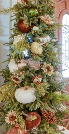 My Simple Thanksgiving Tree with Pumpkins - Home with Holliday Fall Christmas Tree, Types Of Christmas Trees, Thanksgiving Tree, Green Christmas, Holiday Tree, Handmade Christmas, Christmas Pumpkins, Christmas Quotes, Outdoor Christmas