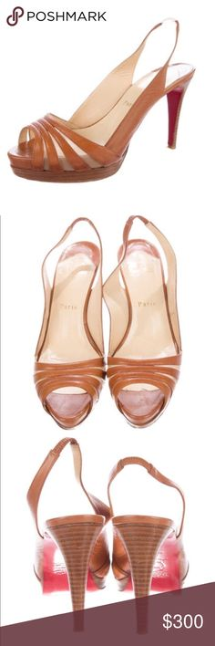 """Christian Louboutin brown/tan leather slingbacks Brown/tan leather Christian Louboutin slingback peep toe pumps. Includes dust bag. This designer runs a half size small - fits a 7/7.5 Heels: 4"""" Platforms: 0.5"""" Condition: Good. Moderate wear at outer soles. Christian Louboutin Shoes Heels"""