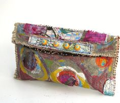Upcycled Clutch Bag Handpainted Boho Look in Fall Colors Pinks,Purple,Orange,Yellow,Turquoise Colors One of a Kind