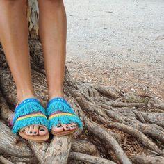 RiRiPoM Genuine Leather Sandals Boho Sandals Fringe by RiRiPoM