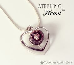 STERLING HEART Cremation Jewelry Handmade by TogetherAgainGlass, $139.00
