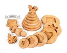 Wood stacking toy shape sorter Wooden by FedoseevARTwoodtoy