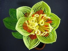 Tulip Poplar Branch  French Beaded Flower by copperglass on Etsy