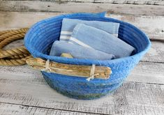 Your place to buy and sell all things handmade Vintage Nautical, Nautical Home, Girls Room Storage, Etsy Handmade, Handmade Gifts, Fabric Basket, Rope Basket, Muslin Fabric, Housewarming Gifts