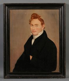 Ammi Phillips (American, 1788-1865) Portrait of a Ginger-haired Young Man. Unsigned. Oil on canvas, 30 1/2 x 20 1/4 in., in a period molded and black-painted wood frame.
