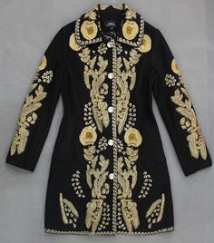 Embroidered Wool Coat Jacket in Black