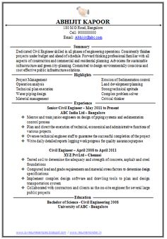 Professional Curriculum Vitae / Resume Template for All Job Seekers  Sample Template of a Excellent One page Civil Engineer Executive Resume with Work Experience, Professional Curriculum Vitae with Free Download in word Doc. (1 Page Resume) (Click Read More for Viewing and Downloading the Sample)  ~~~~ Download as many CV's for MBA, CA, CS, Engineer, Fresher, Experienced etc / Do Like us on Facebook for all Future Updates ~~~~