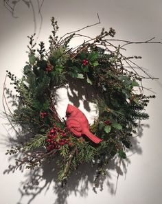 Cardinal Wreath by CerridwensGardens on Etsy