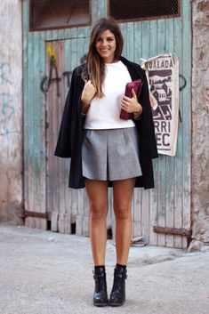 Grey skirt, boots & black coat. (Trendy Taste)