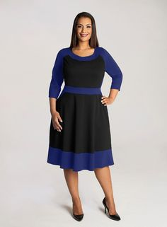 50bc1176b2c3 IGIGI by Yuliya Raquel Evey Plus Size Colorblock Dress in Black and Royal  Blue from Curvety Knee length with a bra friendly boat neck.